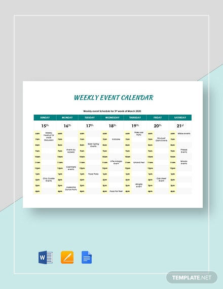 weekly event calendar