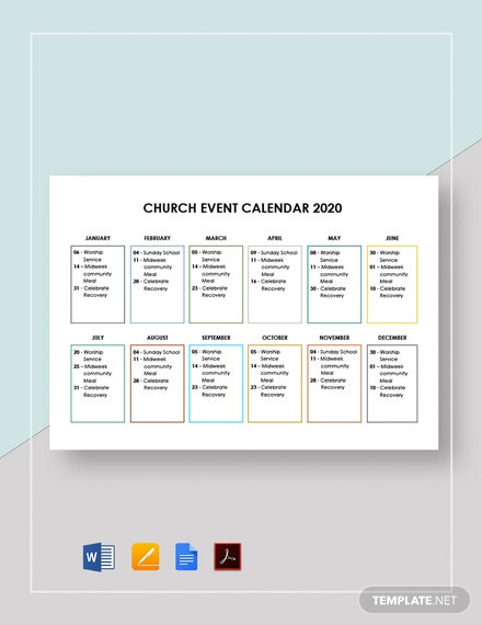 Church Event Calendar Template