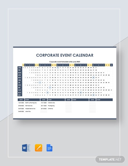 Corporate Event Calendar Template