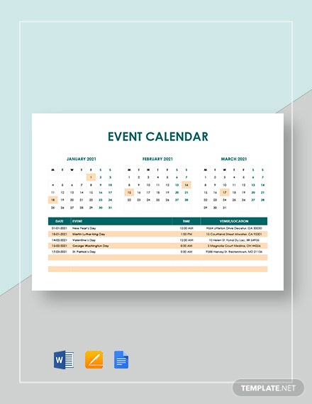 sample event calendar