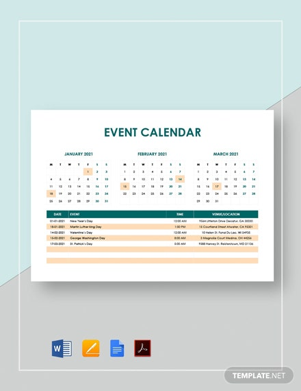 Sample Event Calendar Template