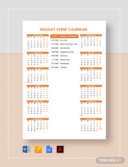 Holiday Event Calendar Template