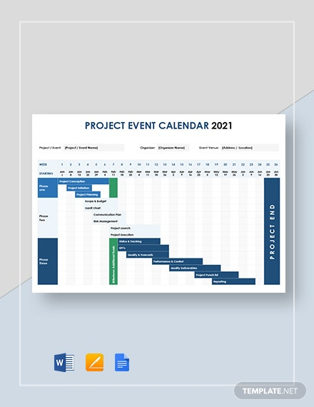 Project Event Calendar Template