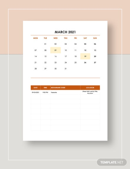 Restaurant Event Calendar  Download