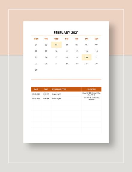 Restaurant Event Calendar Template