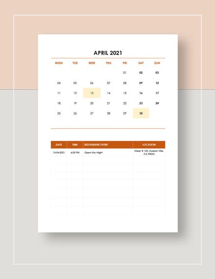 Sample Restaurant Event Calendar
