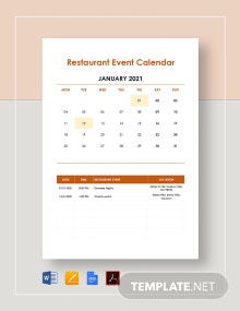 Restaurant Event Calendar Template