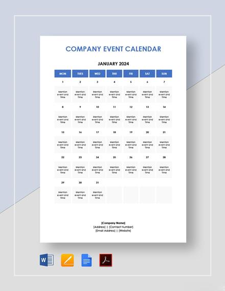 Company Event Calendar Template