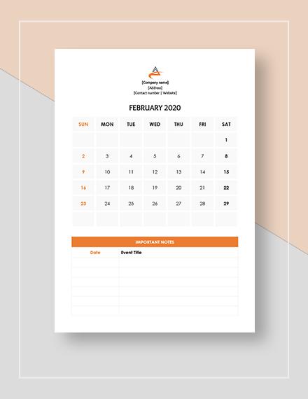 Event Management Calendar  Template