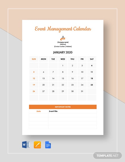 event management calendar