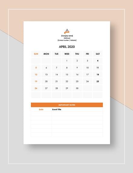 Sample Event Management Calendar
