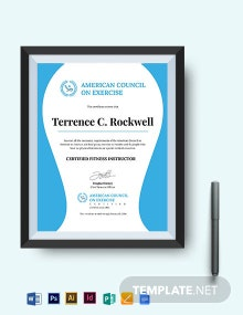 Fitness Instructor Certificate Template