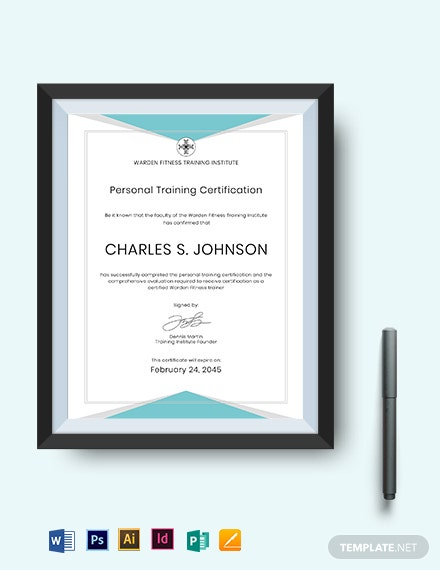 Fitness Trainer Certificate Template