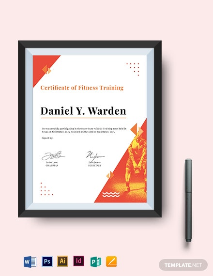 fitness training certificate template