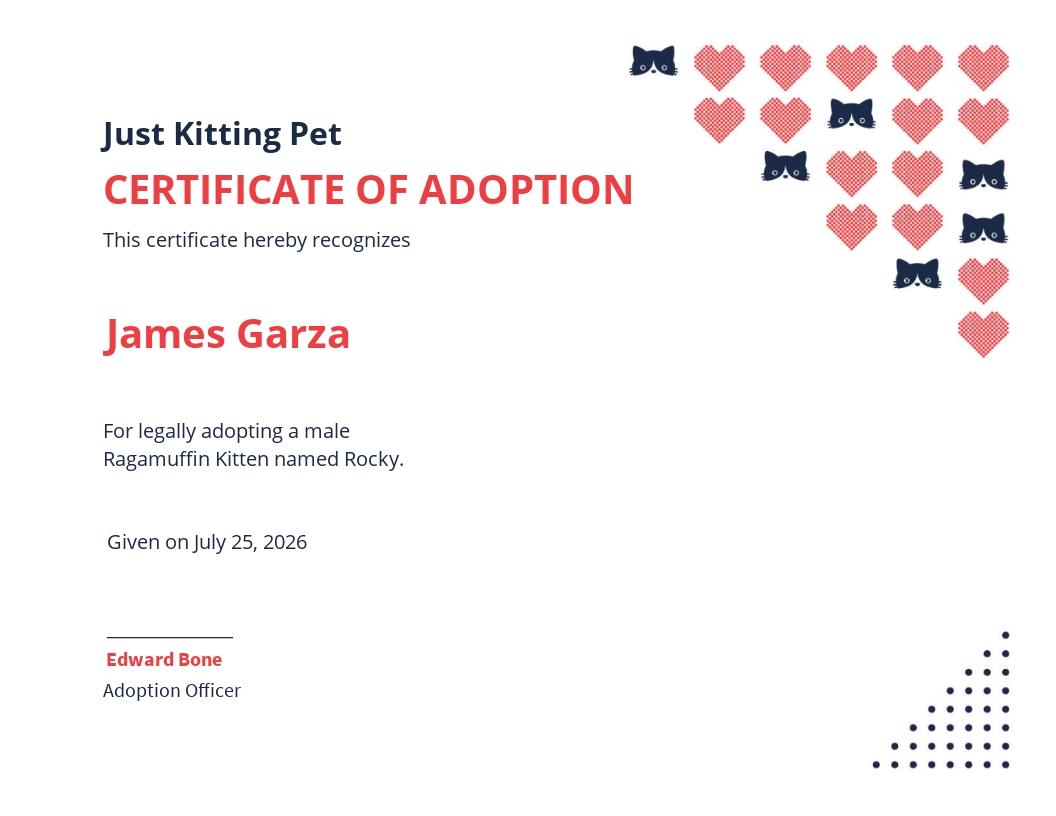 Kitten/Cat Adoption Certificate Template