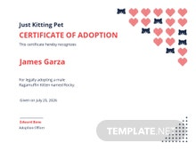 Kitten/Cat Adoption Certificate Template