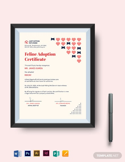 kittencat adoption certificate template