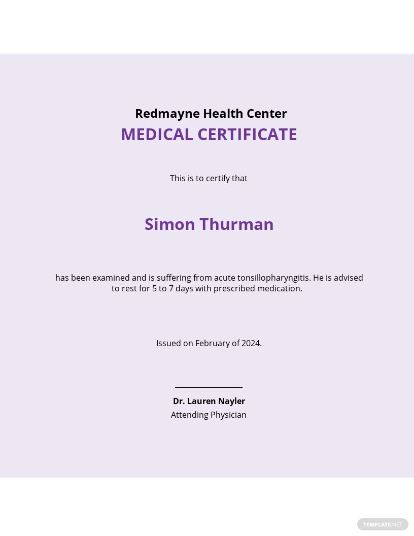 Medical Certificate Template for Leave or Extension