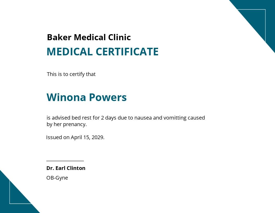 Medical Certificate Template for Pregnancy Sickness.jpe