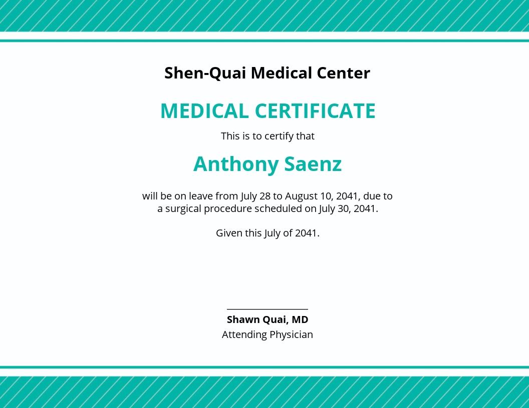 Medical Leave Certificate Template