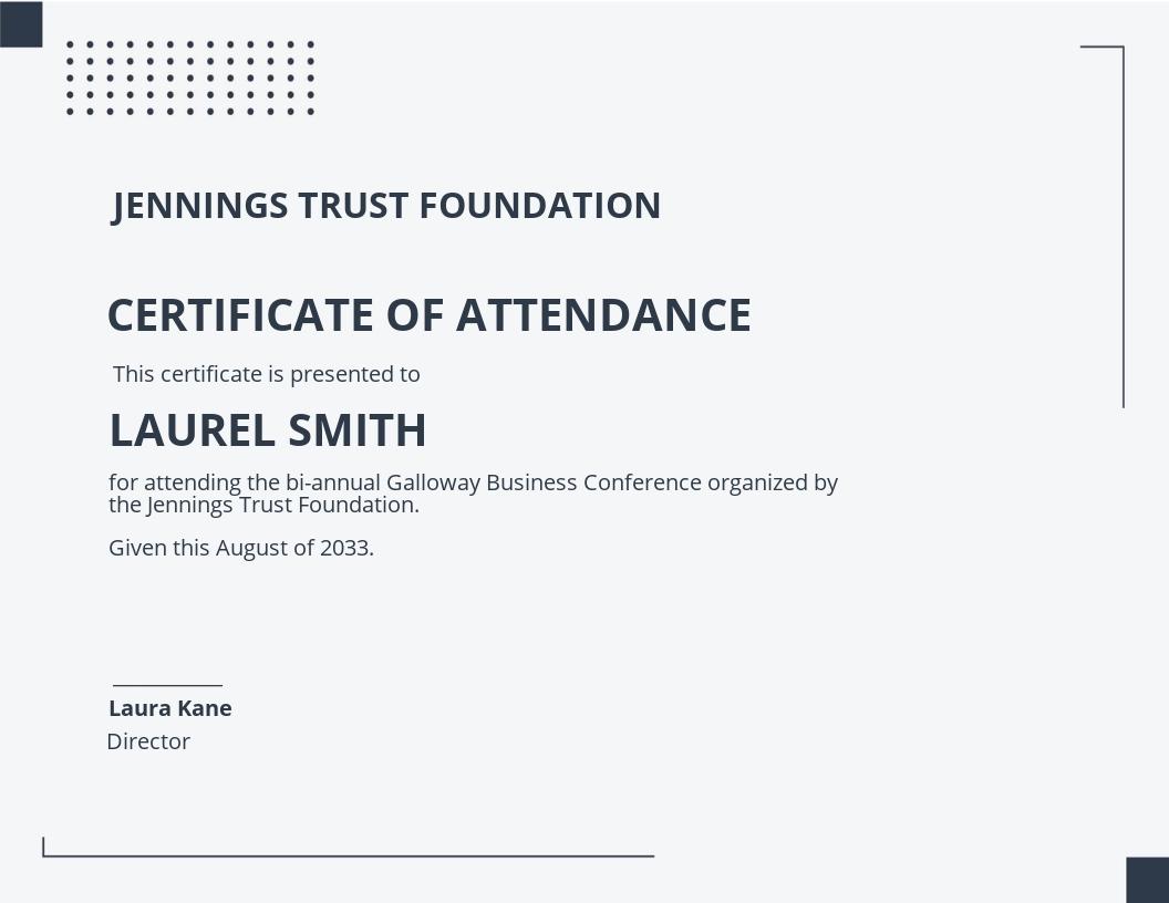 Meeting Attendance Certificate Template