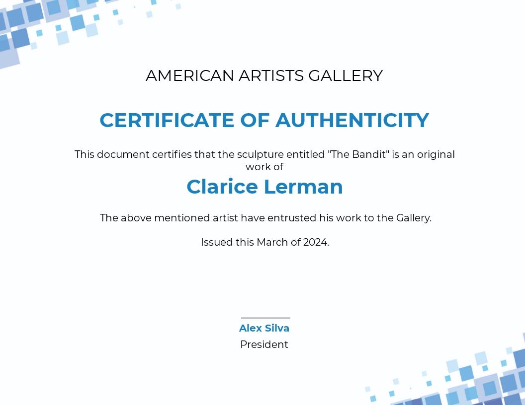 Modern Artist Authenticity Certificate Template