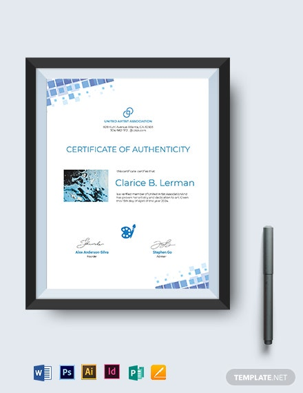 Modern Artist Authenticity Certificate Template