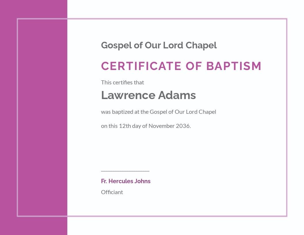 Modern Baptism Certificate Template