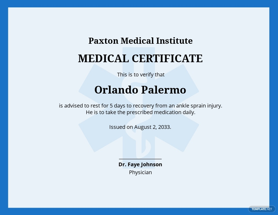 Not Fit to Work Medical Certificate Template.jpe