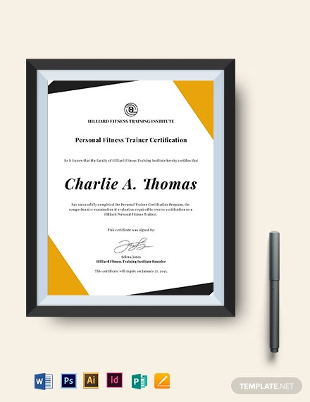 Personal Fitness Trainer Certificate Template