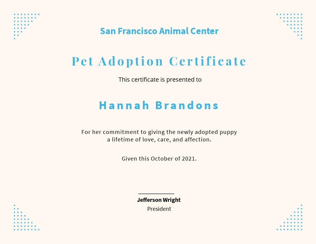 Pet Adoption Certificate Template.jpe