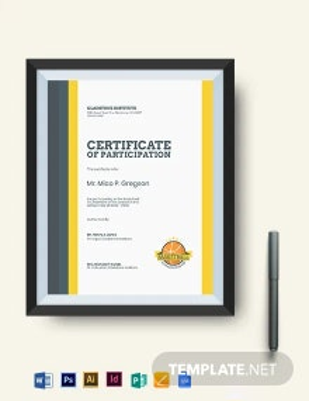 Printable Basketball Certificate Template