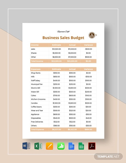 Business Sales Budget Template