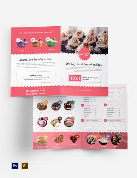 Free Bakery Bi-Fold Brochure Template