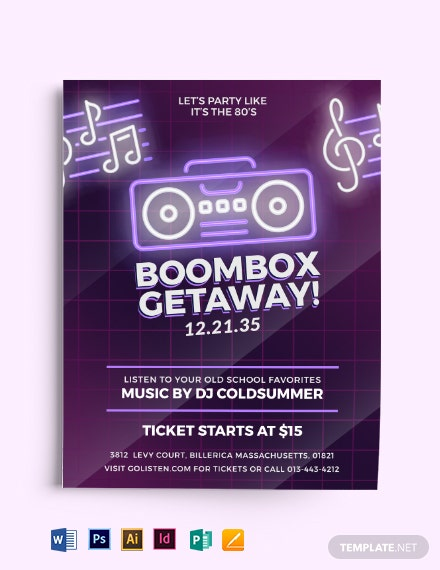 80s Beat Box Music Flyer Template