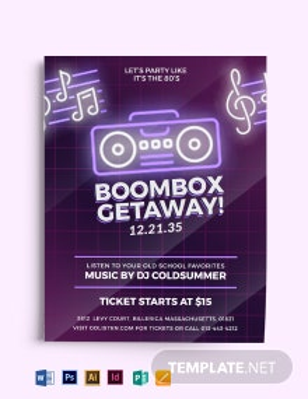 80s Beat Box Music Flyer Template