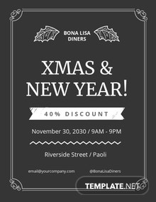 Christmas New Year Chalk Flyer Template