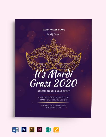 Classy Mardi Gras Flyer Template