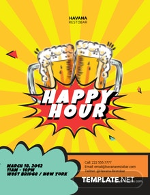 Comic Happy Hour Flyer Template