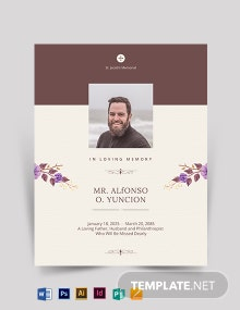 Double Sided Memory Funeral Flyer Template