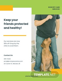 Green Pet Care Flyer Template