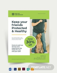 Double Sided Pet Care Flyer Template