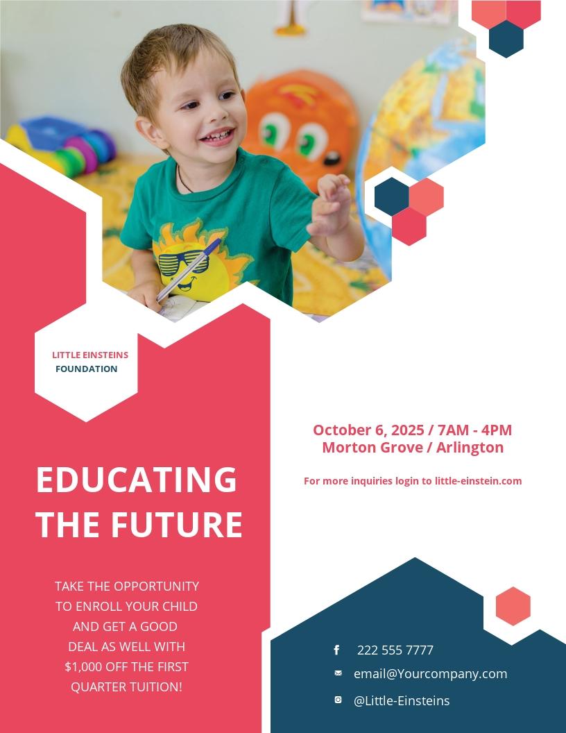 Little Einsteins Kindergarten Flyer Template