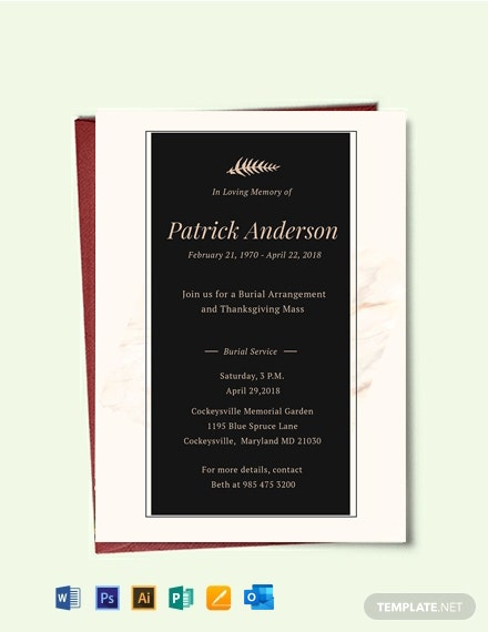 Free Funeral Service Invitation Template