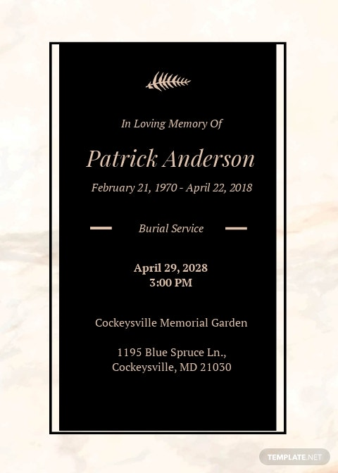 Funeral Service Invitation Template