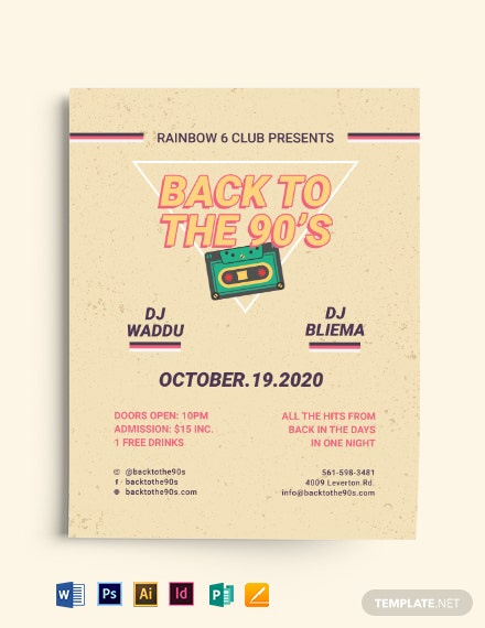 Retro Disco 90s Flyer Template