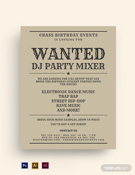 Wanted Birthday Party Flyer Template