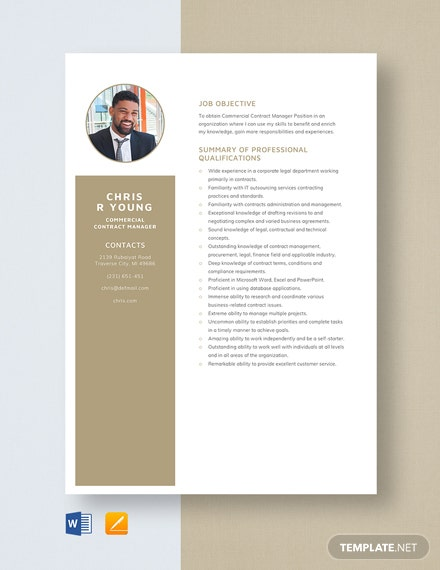 Commercial Contract Manager Resume Template