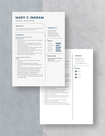 Drupal Developer Resume Download