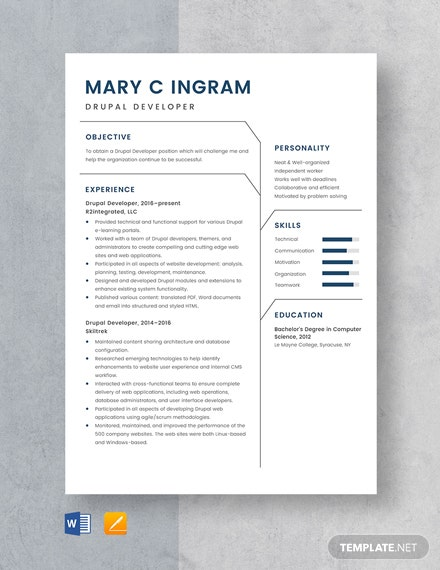 Drupal Developer Resume Template